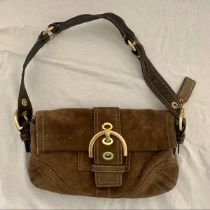 Coach Brown Suede Mini Purse Baguette